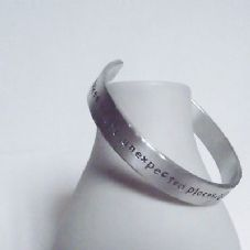 "Lovely Handmade Personalised ""....love brings you home""  Statement Cuff Bangle"